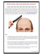 What to Choose- Wig or Hair Restoration Treatment?