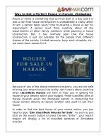 Way to Get a Perfect House in Harare, Zimbabwe