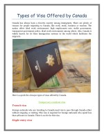 Types of Visa Offered by Canada