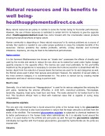Natural resources and its benefits to well being healthsupplementsdirect.co.uk