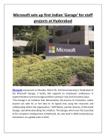 Microsoft sets up first Indian 'Garage' for staff projects at Hyderabad