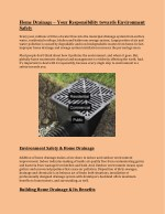 Home Drainage – Your Responsibility towards Environment Safety