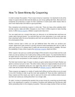 How To Save Money By Couponing