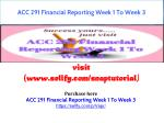ACC 291 Financial Reporting Week 1 To Week 3