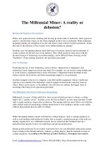 he Millennial Miner - Reality or Delusion - Mine Safety Institute