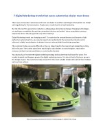 7 Digital Marketing trends that every automotive dealer must know