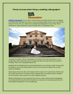 Points to know when hiring a wedding videographer