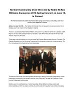 Hartnell Community Choir Directed by Robin McKee Williams Announces 2018 Spring Concert on June 10, in Carmel