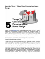 Take Care of These 5 Things While Planning Home Design
