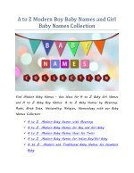 Modern Girl Baby Names | Modern Boy Baby Names with A to Z Baby Names Collection