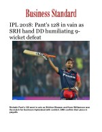 IPL 2018: Pant's 128 in vain as SRH hand DD humiliating 9-wicket defeat