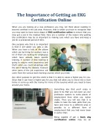 The Importance of Getting an EKG Certification Online