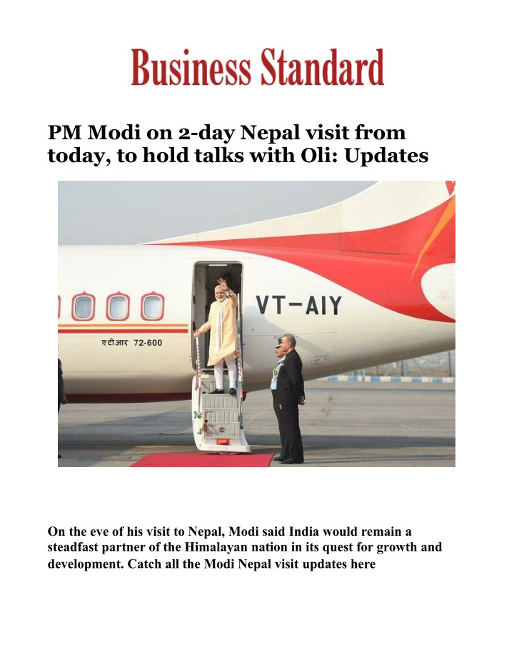 pm modi on 2 day nepal visit from today to hold n.