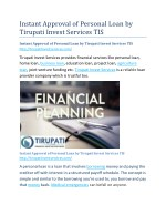 Instant Approval of Personal Loan by Tirupati Invest Services TIS