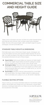 Commercial Table Size and Height Guide