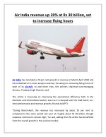 Air India revenue up 20% at Rs 30 billion, set to increase flying hours | Business Standard News