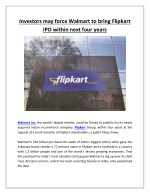 Investors may force Walmart to bring Flipkart IPO within next four years | Business Standard News