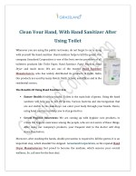 Clean Your Hand With Hand Sanitizer After Using Toilet