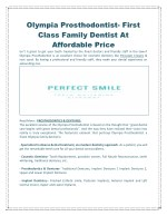 Olympia Prosthodontist- First Class Family Cosmetic Dentist at Affordable Price