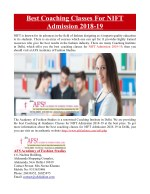 Best Coaching Classes For NIFT Admission
