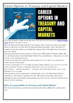 Career Options in Treasury and Capital Markets