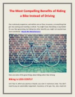 The Most Compelling Benefits of Riding a Bike Instead of Driving