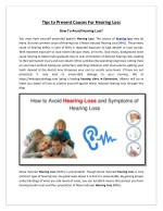 Tips to Prevent Causes For Hearing Loss