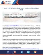 Smart Transportation Market Sales | Supply and Demand Till 2022