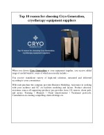 Top 10 reason for choosing Cryo Generation, cryotherapy equipment suppliers