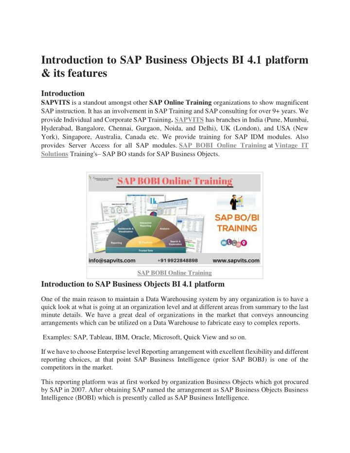PPT - SAP Business Objects course PDF PowerPoint Presentation - ID