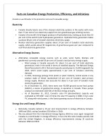 Facts on Canadian Energy Production, Efficiency, and Initiatives