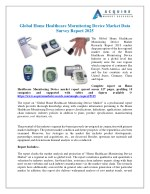 Global Home Healthcare Mornitoring Device Industry 2018 Market Growth, Trends and Demands Research Report