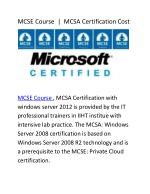 MCSA Certification Cost | MCSE Course