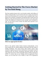 Getting Started In The Forex Market by Yee Kok Siong