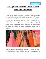 Stay updated with the latest fashion news and the trends