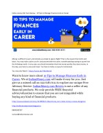 Indian money Dot Com Review - 10 Tips to Manage Finances Early in Career