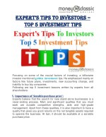 Expert's Tips To Investors – Top 5 Investment Tips