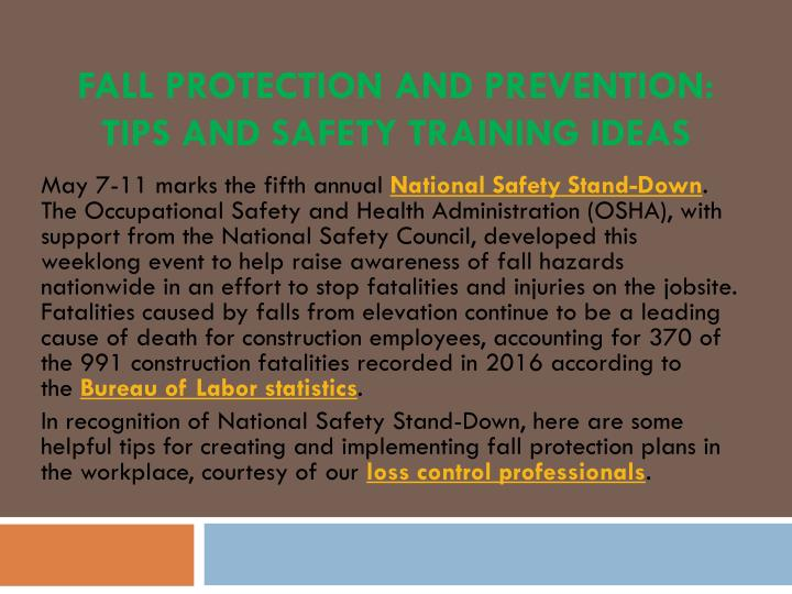 fall protection and prevention tips and safety training ideas n.