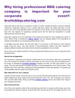 Why hiring professional BBQ catering company is important for your corporate event?- brettsbbqcatering.com