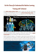 Get the Chance for Understand the Machine Learning Training with Techienest