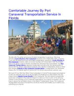 Comfortable Journey By Port Canaveral Transportation Service In Florida