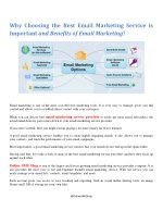 Why Choosing the Best Email Marketing Service is Important and Benefits of Email Marketing?