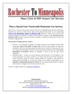 Plan a Hassle Free Travel with Rochester Car Service