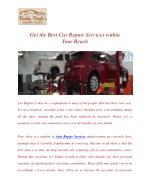 Get the Best Car Repair Services within Your Reach