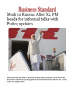 PM Modi in Russia: After Xi, PM heads for informal talks with Putin; updates