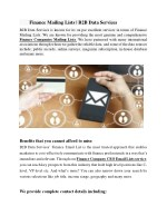 Finance Mailing Lists | Finance Email lists | B2B Data Services