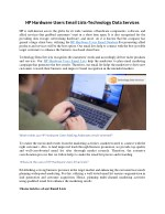 HP Hardware Users Email Lists-Technology Data Services