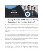 Gearing-Up for EU-GDPR – How the Privacy Regulation Is Good for Your Business?