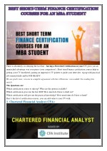 BEST SHORT-TERM FINANCE CERTIFICATION COURSES FOR AN MBA STUDENT