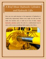 A Brief About Hydraulic Cylinders and Hydraulic Lifts